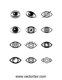 Isolated eyes icon set vector design