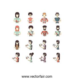 Isolated girls and boys playing with videogame set vector design