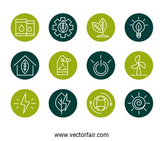 sustainable energy alternative renewable ecology icons set block line style icon