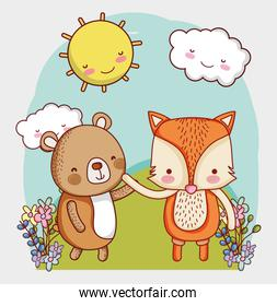 cute animals, little bear and fox flowers sun cartoon