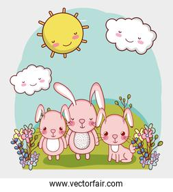 cute animals, adorable bunnies in grass with flowers cartoon