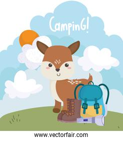 camping cute little deer backpack flashlight boots grass cartoon