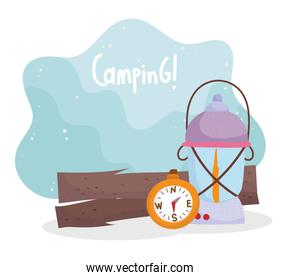 camping lantern and compass trunk equipment cartoon