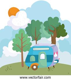 camping trailer bush trees meadow sun cloud cartoon