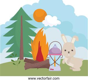 camping cute rabbit lantern bonfire tree sun clouds cartoon