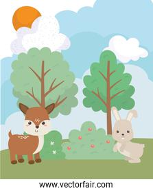 camping cute rabbit and deer pine trees grass sun clouds cartoon
