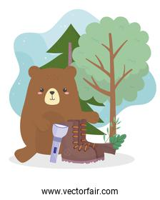 camping bear boot and lantern trees nature cartoon
