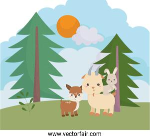 camping cute deer goat and rabbit pine trees meadow sun cartoon