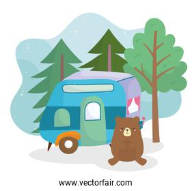 camping cute bear trailer pine trees forest cartoon