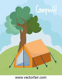 camping tent field foliage trees nature cartoon