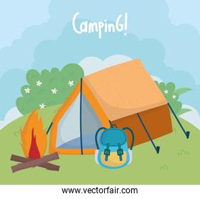 camping tent rucksack bonfire bushes foliage grass cartoon