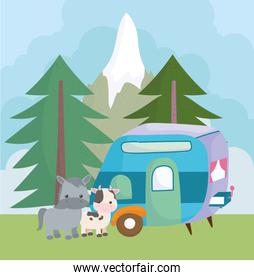 camping cute donkey cow and trailer trees mountain cartoon