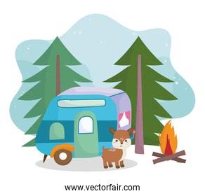 camping cute deer trailer bonfire trees forest cartoon