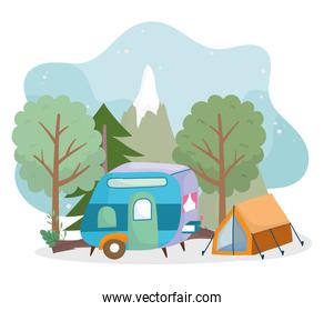 camping tent trailer forest trees greenery cartoon
