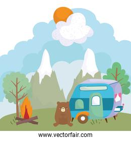 camping cute bear trailer bonfire trees mountains cartoon