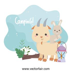 camping cute rabbit in goat lamp and trunk forst cartoon