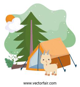 camping cute goat tent pine tree sun cartoon