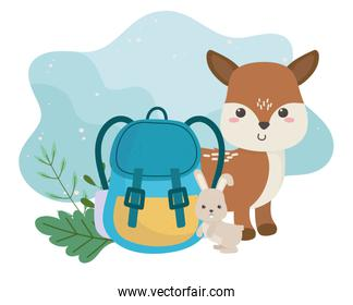 camping cute deer rabbit and backpack foliage cartoon