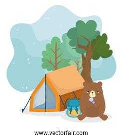 camping cute bear with backpack lantern tent trees forest