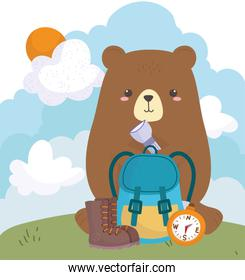 camping cute bear with backpack lantern in field cartoon