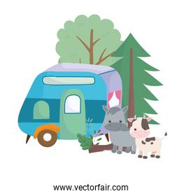 camping cute cow donkey trailer forest trees nature cartoon