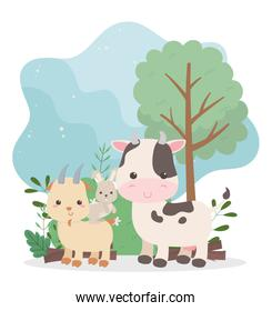 camping cute cow rabbit and goat tree bush nature cartoon