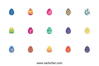 bundle easter eggs painted flat style icons