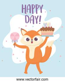 happy day, little fox with cake and candy card