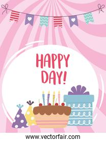 happy day, cake gift box party hat and pennants