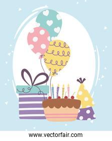 happy day, cake with gift box balloons and party hat