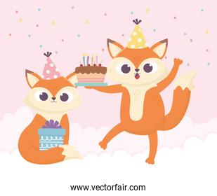 happy day, little foxes with cake and gift box