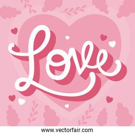 Love heart and leaves vector design