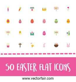easter lettering with bundle of spring set flat icons