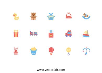 Isolated baby objects and toys icon set vector design