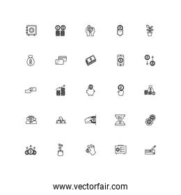 bundle of saving set line style icons