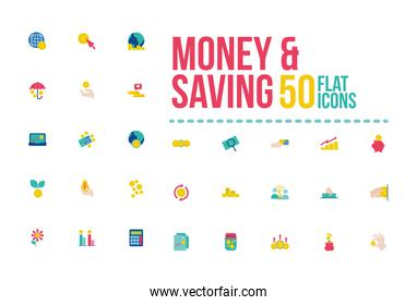 bundle of saving set icons with lettering flat style