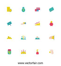 bundle of saving set flat style icons