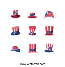 Isolated usa hats icon set vector design