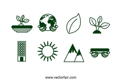 bundle of ecology set icons