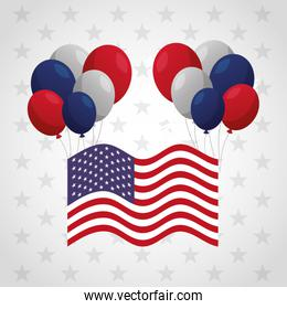 presidents day celebration poster with flag and balloons helium