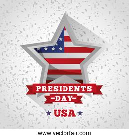 happy presidents day celebration poster with flag in star