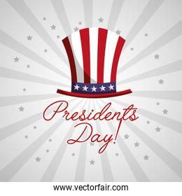 happy presidents day celebration poster with uncle sam hat