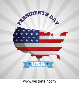 happy presidents day celebration poster with usa flag in map
