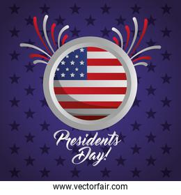 happy presidents day celebration poster with flag seal stamp
