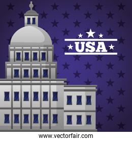 happy presidents day celebration poster with capitol facade