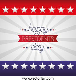 happy presidents day celebration poster with lettering and flag