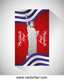 happy presidents day celebration poster with liberty statue