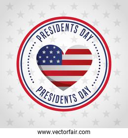 happy presidents day celebration poster with usa flag in heart