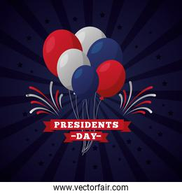 presidents day celebration with lettering and balloons helium