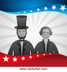 presidents day celebration poster with lincoln and washington